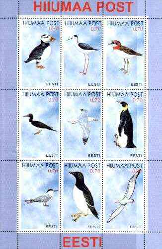 Estonia (Hiiumaa) 1999 Seabirds perf sheetlet containing complete set of 9 unmounted mint