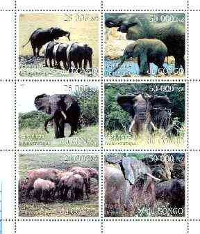 Congo 1997 Elephants perf sheetlet containing complete set of 6 values unmounted mint, stamps on , stamps on  stamps on animals, stamps on elephants