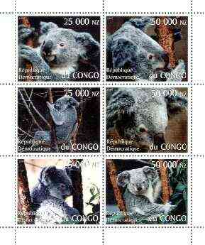 Congo 1997 Koala Bears perf sheetlet containing complete set of 6 values unmounted mint