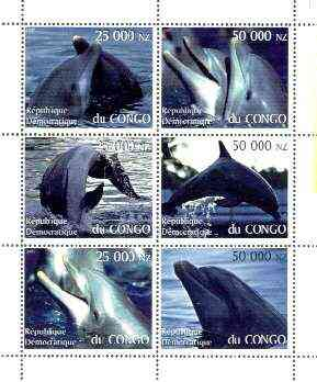 Congo 1997 Dolphins perf sheetlet containing complete set of 6 values unmounted mint