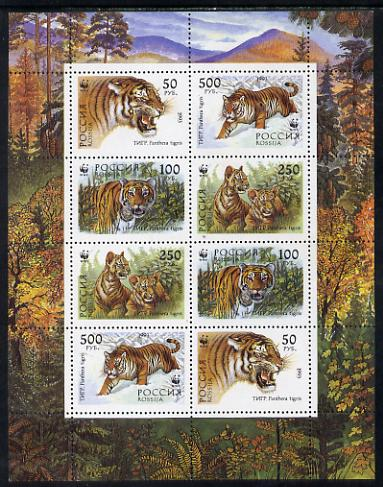 Russia 1994 WWF Tiger sheetlet containing 8 values (2 sets of 4) unmounted mint, SG 6443-46