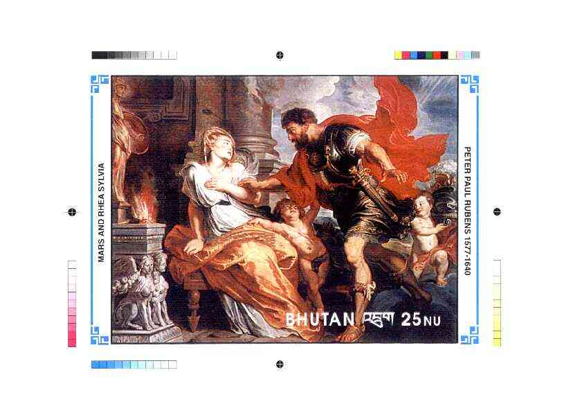 Bhutan 1991 Death Anniversary of Peter Paul Rubens Intermediate stage computer-generated artwork for 25nu m/sheet (Mars and Rhea Sylvia), magnificent item ex Government archives (135 x 198 mm) as Sc 997