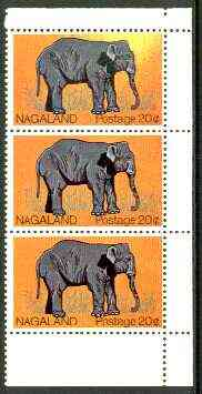 Nagaland 1969 Elephant 20c vert strip of 3, upper stamp with massive disturbance to background (yellow instead of orange) unmounted mint