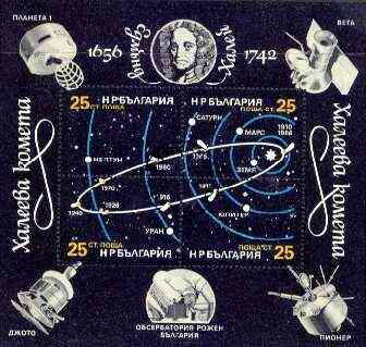 Bulgaria 1986 Halley's Comet perf m/sheet containing 4 values fine cto used, SG MS 3331, Mi BL 162A