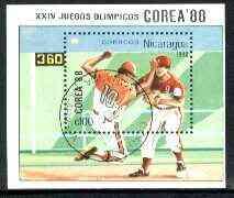 Nicaragua 1988 Seoul Olympic Games perf m/sheet (Baseball) fine cto used, SG MS 2954