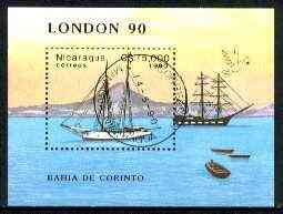Nicaragua 1990 London '90 Stamp Exhibition perf m/sheet (Ships) fine cto used