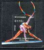 Nicaragua 1987 Panamerican Games perf m/sheet (Gym) fine cto used, SG MS 2902