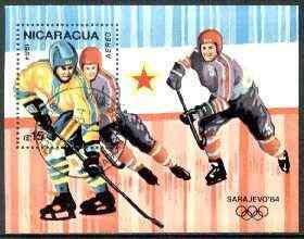 Nicaragua 1984 Sarajevo Winter Olympics perf m/sheet #2 (Ice Hockey) fine cto used, SG MS 2566
