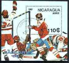 Nicaragua 1987 Calgary Winter Olympics perf m/sheet (Ice Hockey) fine cto used, SG MS 2833