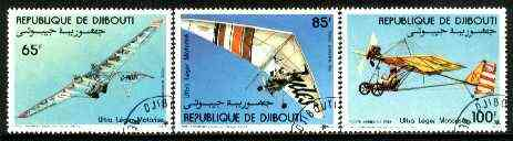 Djibouti 1984  Microlight Aircraft set of 3 fine cto used, SG 906-908*
