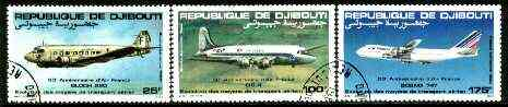 Djibouti 1983 Air France Anniversary set of 3 fine cto used, SG 875-77*