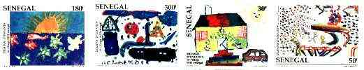 Senegal 1998 S.O.S Children's Village (Children's Paintings) set of 4 imperf from limited printing unmounted mint