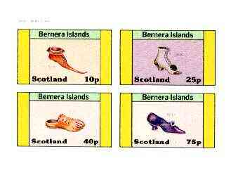 Bernera 1982 Footware imperf set of 4 (Shoes of 1430, 1550, 1840 & 1912) unmounted mint