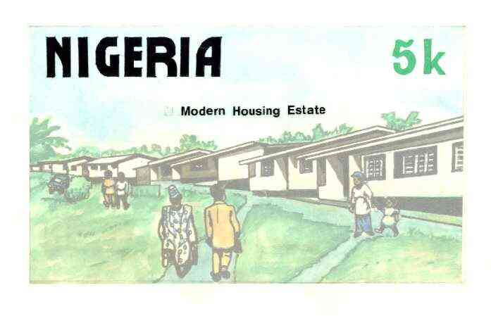 Nigeria 1986 Nigerian Life Def series - original hand-painted artwork for 5k value (Modern Housing Estate) by Godrick N Osuji on card 220 mm x 126 mm