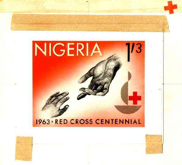 Nigeria 1963 Red Cross Centenary - original hand-painted artwork for 1s3d value (Outstretched hands) probably by M Goaman on board 134 x 100 mm , stamps on red cross, stamps on medical, stamps on