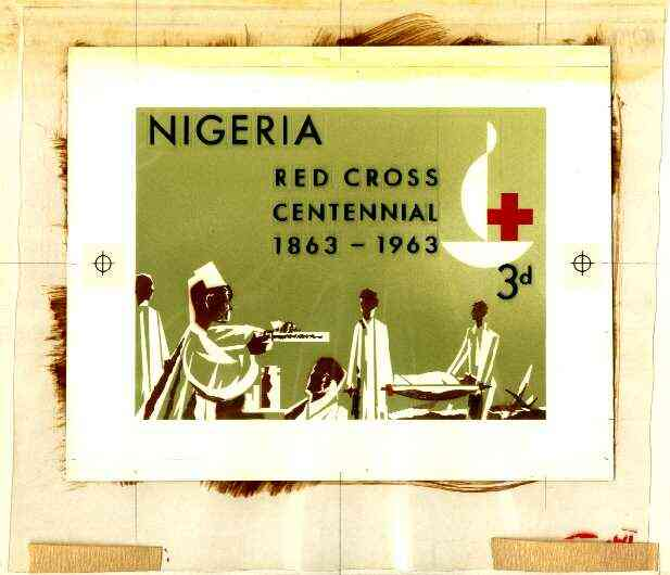 Nigeria 1963 Red Cross Centenary - original hand-painted artwork for 3d value (Stretcher carriers) probably by M Goaman on board 134 x 100 mm , stamps on nurses, stamps on red cross, stamps on medical, stamps on