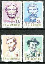 Albania 1989 Death Anniversaries set of 4 (writers & painters) unmounted mint SG 2428-31, Mi 2409-12*, stamps on literature, stamps on death, stamps on arts, stamps on writers