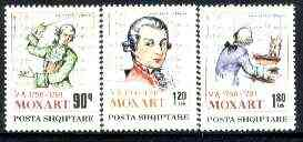 Albania 1991 Death Bicentenary of Mozart set of 3 unmounted mint, SG 2499-2501, Mi 2477-79*