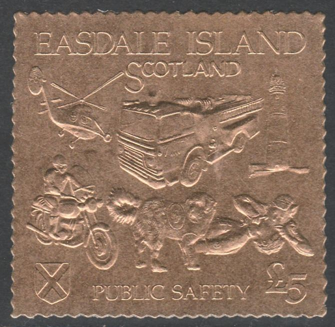 Easdale 1991 Public Safety \A35 embossed in gold foil (showing Lighthouse, Fire engine, Rescue Dog, Helicopter, First-Aid & Motorcyclist) unmounted mint