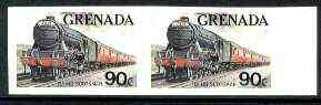 Grenada 1982 Famous Trains 90c Flying Scotsman unmounted mint imperf pair, as SG 1215