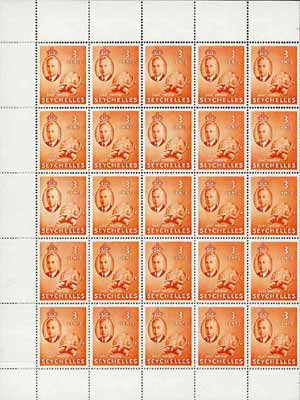 Seychelles 1952 Tortoise SG 159 KG6 3c orange complete sheet of 50 unmounted mint incl retouches on 2/8 & 3/8