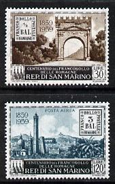 San Marino 1959 Romagna Stamp Centenary set of 2 unmounted mint, SG 582-83*
