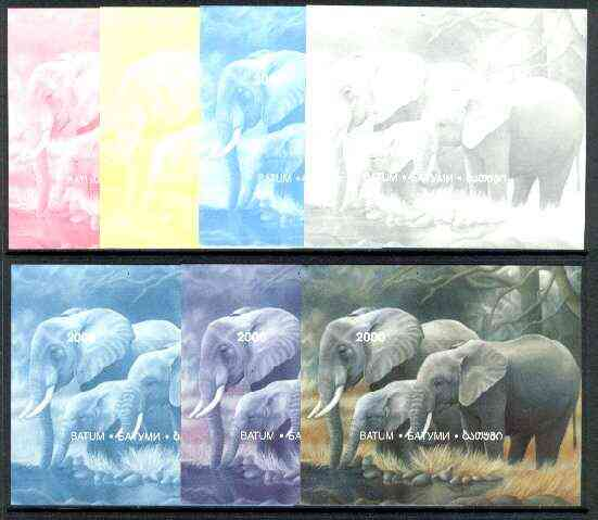 Batum 1997 Endangered Species (Elephant) perf souvenir sheet (2000 value) the set of 7 imperf progressive colour proofs comprising the 4 individual colours plus 2, 3 and ...