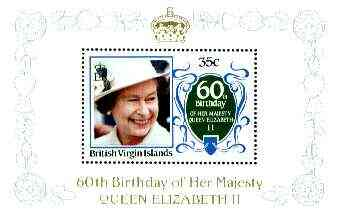 British Virgin Islands 1986 Queen's 60th Birthday 35c in unissued deluxe m/sheet format (see note after SG 604) unmounted mint