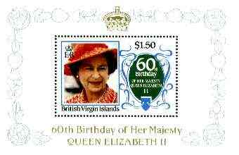 British Virgin Islands 1986 Queen's 60th Birthday $1.50 in unissued deluxe m/sheet format (see note after SG 604) unmounted mint