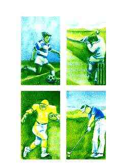 Batum 1996 Sports (Football, Cricket, American Football & Golf) imperf progressive proof sheet in blue & yellow only unmounted mint