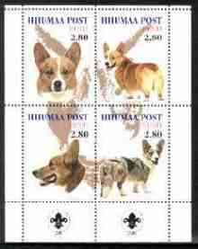 Estonia (Hiiumaa) 2000 Dogs #1 perf sheetlet of 4 with Scouts Logo in bottom margin