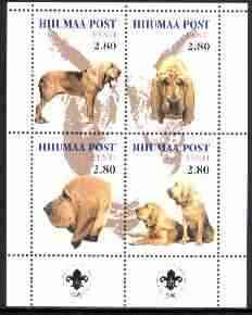 Estonia (Hiiumaa) 2000 Dogs #2 perf sheetlet of 4 with Scouts Logo in bottom margin