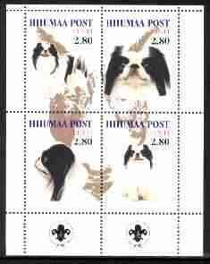 Estonia (Hiiumaa) 2000 Dogs #3 perf sheetlet of 4 with Scouts Logo in bottom margin