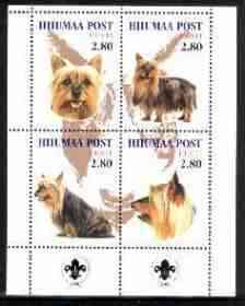 Estonia (Hiiumaa) 2000 Dogs #4 perf sheetlet of 4 with Scouts Logo in bottom margin