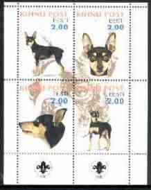 Estonia (Kihnu) 2000 Dogs #2 perf sheetlet of 4 with Scouts Logo in bottom margin