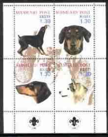 Estonia (Manilaid) 2000 Dogs #2 perf sheetlet of 4 with Scouts Logo in bottom margin