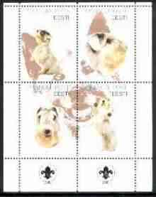 Estonia (Prangli) 2000 Dogs #4 perf sheetlet of 4 with Scouts Logo in bottom margin