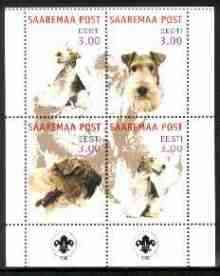 Estonia (Saaremaa) 2000 Dogs #2 perf sheetlet of 4 with Scouts Logo in bottom margin unmounted mint