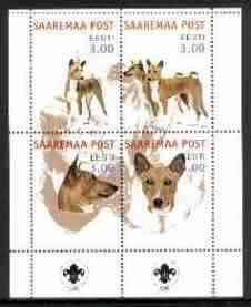 Estonia (Saaremaa) 2000 Dogs #3 perf sheetlet of 4 with Scouts Logo in bottom margin unmounted mint