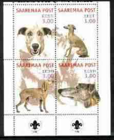 Estonia (Saaremaa) 2000 Dogs #4 perf sheetlet of 4 with Scouts Logo in bottom margin