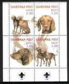 Estonia (Saaremaa) 2000 Dogs #5 perf sheetlet of 4 with Scouts Logo in bottom margin