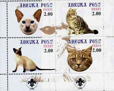 Estonia (Abruka) 2000 Domestic Cats #1 perf sheetlet of 4 with Scouts Logo in bottom margin unmounted mint