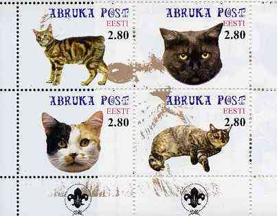 Estonia (Abruka) 2000 Domestic Cats #2 perf sheetlet of 4 with Scouts Logo in bottom margin unmounted mint