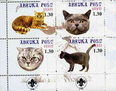 Estonia (Abruka) 2000 Domestic Cats #3 perf sheetlet of 4 with Scouts Logo in bottom margin unmounted mint