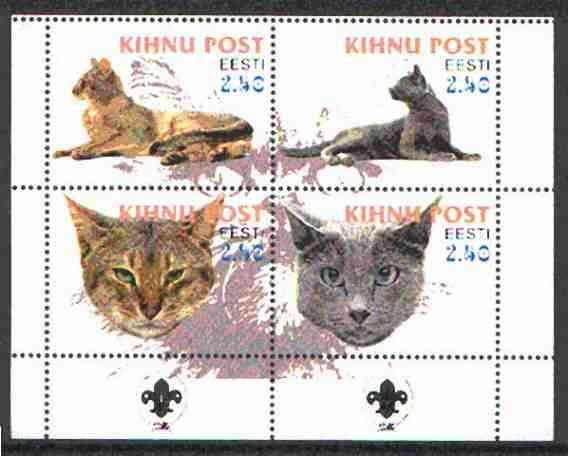 Estonia (Kihnu) 2000 Domestic Cats #2 perf sheetlet of 4 with Scouts Logo in bottom margin unmounted mint