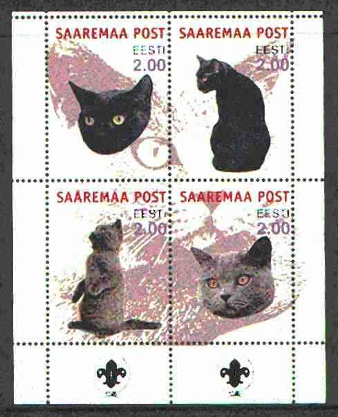 Estonia (Saaremaa) 2000 Domestic Cats #5 perf sheetlet of 4 with Scouts Logo in bottom margin unmounted mint