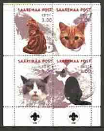 Estonia (Saaremaa) 2000 Domestic Cats #2 perf sheetlet of 4 with Scouts Logo in bottom margin