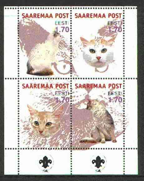 Estonia (Saaremaa) 2000 Domestic Cats #3 perf sheetlet of 4 with Scouts Logo in bottom margin