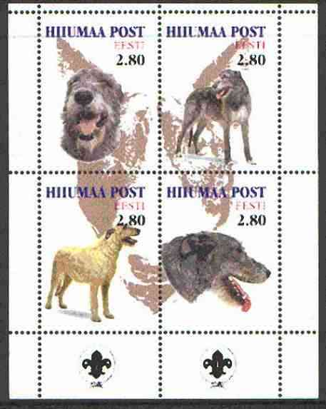 Estonia (Hiiumaa) 2000 Dogs #5 perf sheetlet of 4 with Scouts Logo in bottom margin