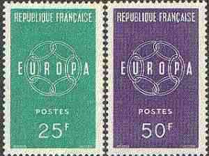 France 1959 Europa set of 2 unmounted mint, SG 1440-41